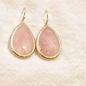 Rose quartz gold drop earrings new
